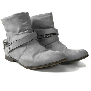 Womens JUICY COUTURE Ankle Gray Flat Botties Sz 8
